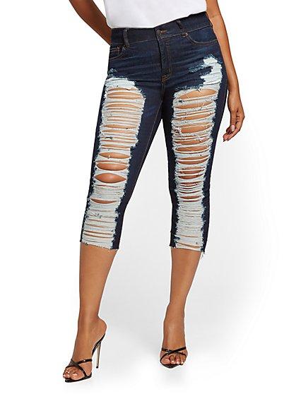 Mya Curvy High-Waisted Sculpting No Gap Super-Skinny Capri Jeans - Medium Indigo - New York & Company