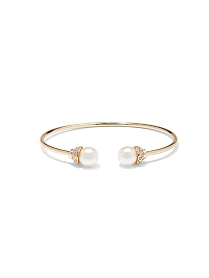 NY Accents - Faux-Pearl & Pavé Cuff Bracelet  - New York & Company