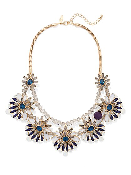 NY Accents - Floral Bib Necklace - Blue  - New York & Company