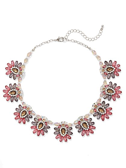 NY Accents - Floral Collar Necklace - Pink  - New York & Company