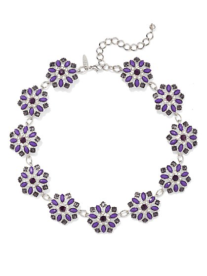 NY Accents - Floral Collar Necklace - Purple - New York & Company