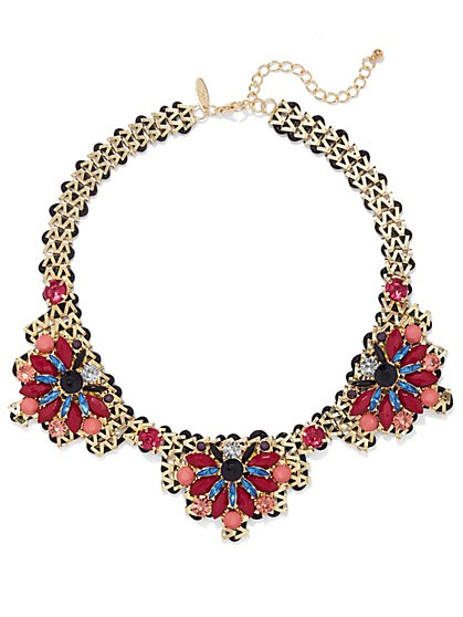 NY Accents - Goldtone Bib Necklace - Floral  - New York & Company