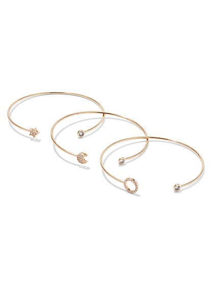 NY Accents - Pavé Goldtone Bracelet Set - New York & Company