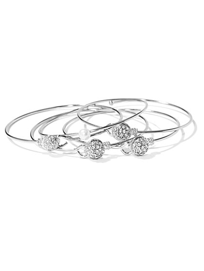 NY Accents - Pearl & Pavé Bangle Set  - New York & Company