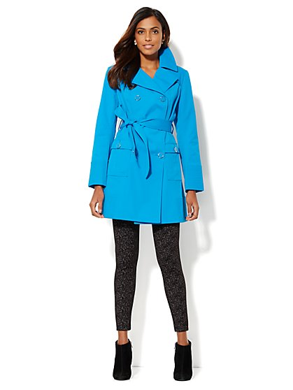 NY Belted Trench Coat - Blue Gem  - New York & Company