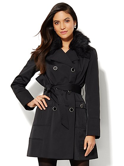 NY Belted Trench Coat - Faux-Fur Collar  - New York & Company