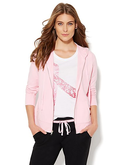 NY&C Pink - Breast Cancer Awareness Studded Hooded Jacket  - New York & Company