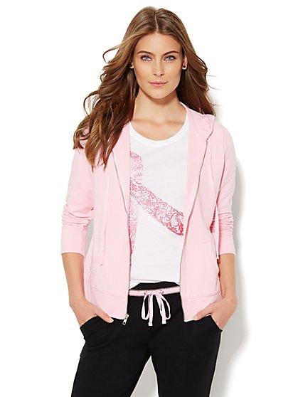 NY&C Pink - Breast Cancer Awareness Studded Hooded Jacket  - New York & Company