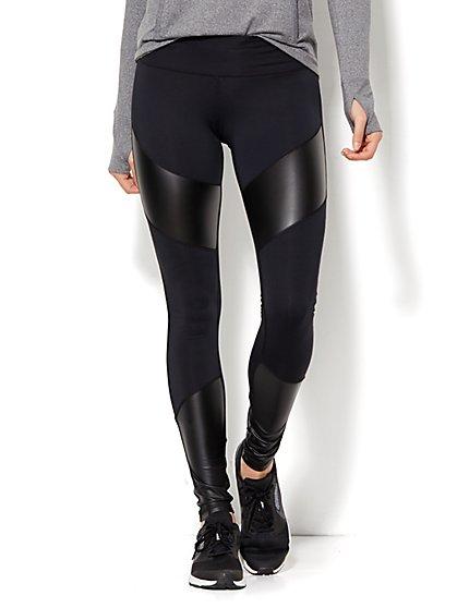 NY&C Velocity - Faux-Leather Panel Legging - New York & Company