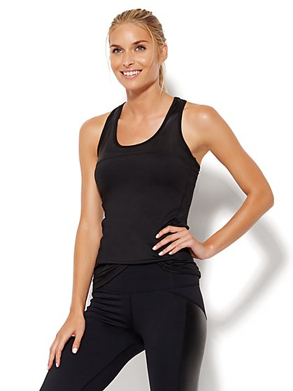 NY&C Velocity - Faux Leather-Trim Tank Top - New York & Company