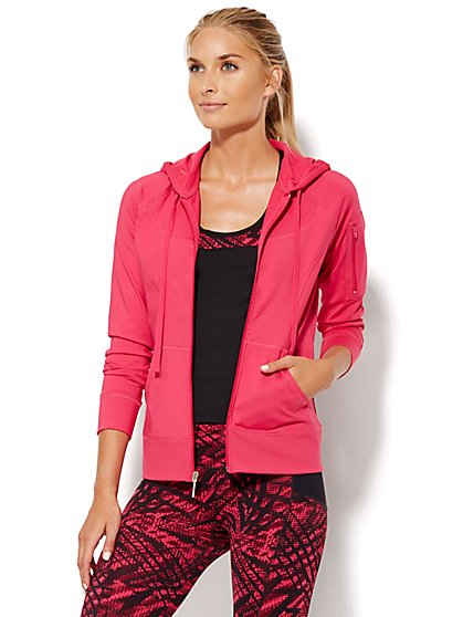 NY&C Velocity - Hooded Zip-Up Jacket - Pink Hottie - New York & Company