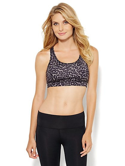 NY&C Velocity - Racerback Sports Bra - Cheetah - New York & Company