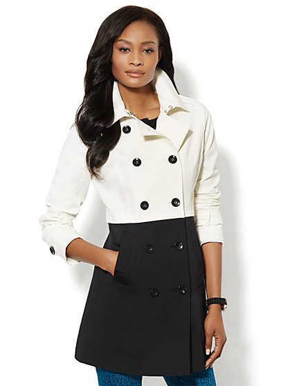 NY Trench - Black & White Colorblock