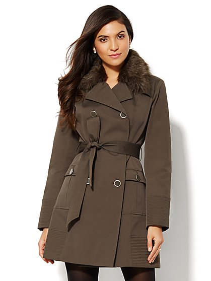 NY Trench Coat - Faux-Fur Collar  - New York & Company