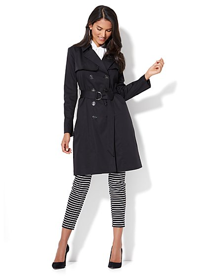 NY Trench Coat - Soft Belted Double-Breasted - Long - New York & Company