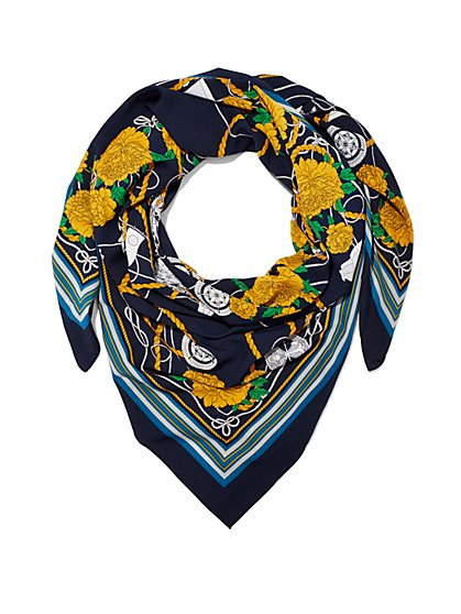 Nautical/Floral-Print Scarf  - New York & Company