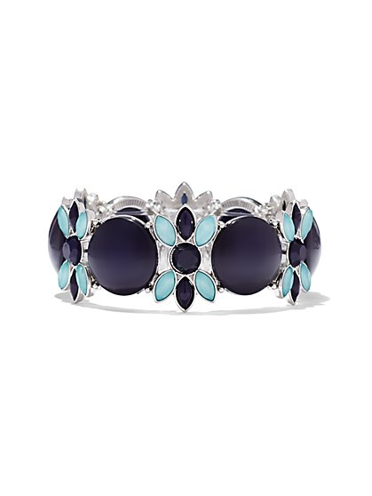 Navy/Turquoise Floral Stretch Bracelet   - New York & Company