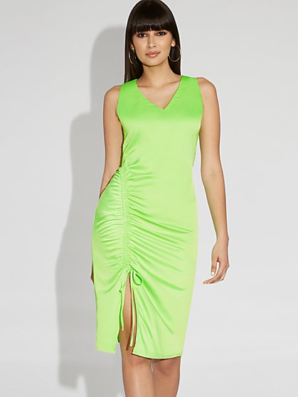 Neon Green Midi Shift Dress - Gabrielle Union Collection - New York & Company