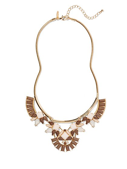 Neutral Beaded Bib Necklace  - New York & Company