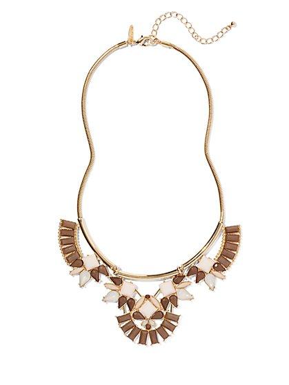 Neutral Beaded Bib Necklace  - New York & Company