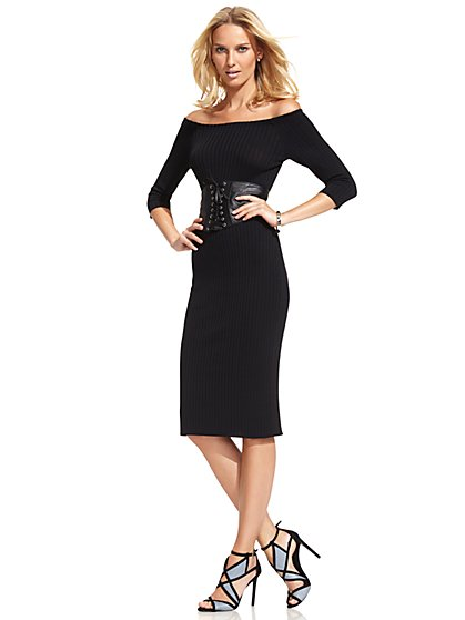 Off-Shoulder Ribbed-Sweater Dress  - New York & Company