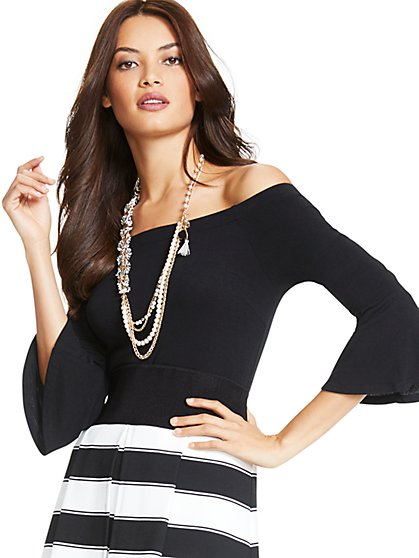 Off-The-Shoulder Bell-Sleeve Bodysuit - New York & Company