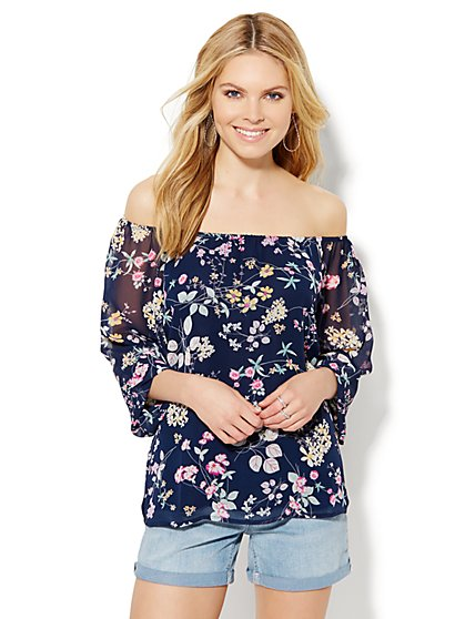 Off-The-Shoulder Blouse - Floral  - New York & Company
