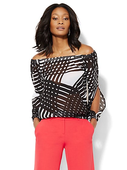 Off-The-Shoulder Blouse - Print - New York & Company