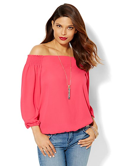 Off-The-Shoulder Blouse - Solid  - New York & Company