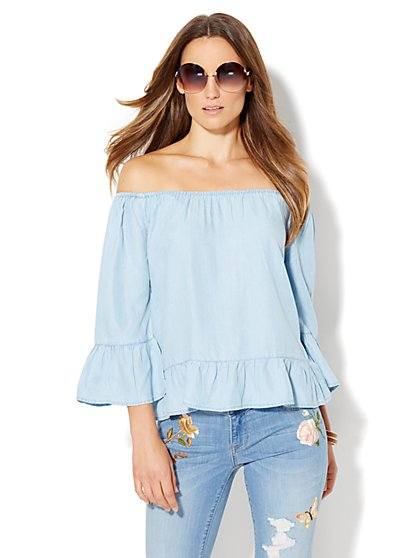 Off-The-Shoulder Blouse - Ultra-Soft Chambray - Light Indigo  - New York & Company