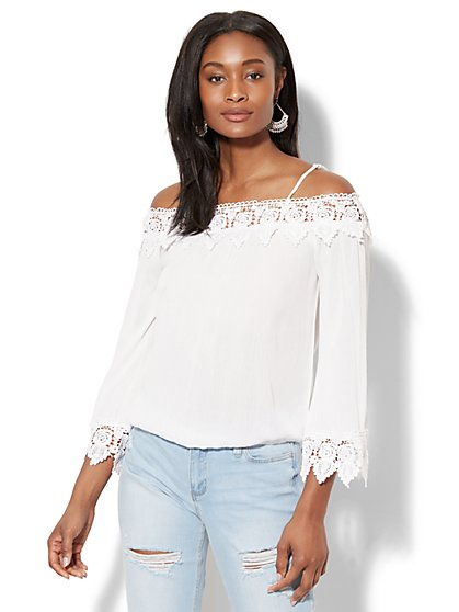 Off-The-Shoulder Crochet-Trim Blouse - New York & Company