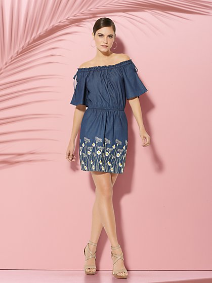 Off-The-Shoulder Embroidered Chambray Dress - New York & Company