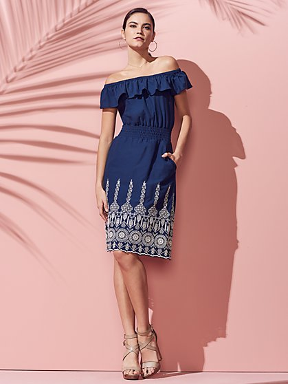 Off-The-Shoulder Embroidered Dress - New York & Company