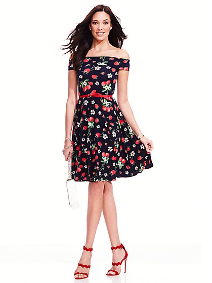 Off-The-Shoulder Flare Dress - Strawberry Print  - New York & Company