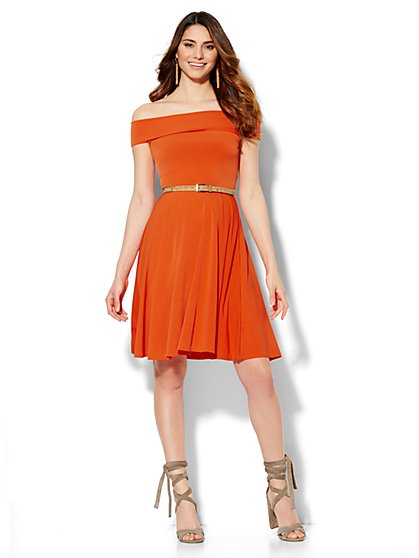 Off-The-Shoulder Flare Dress  - New York & Company