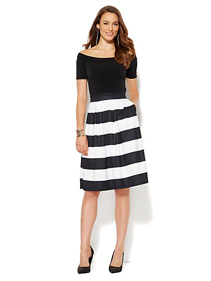 Off-The-Shoulder Flare Scuba Dress - Stripe - Petite  - New York & Company