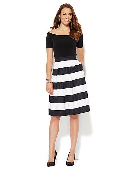 Off-The-Shoulder Flare Scuba Dress - Stripe - Petite  - New York & Company