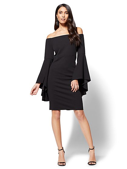 Off-The-Shoulder Flare-Sleeve Dress - New York & Company