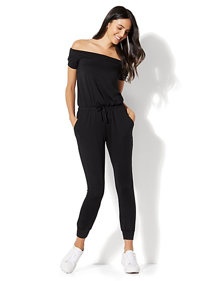 Off-The-Shoulder Jumpsuit - Black - New York & Company