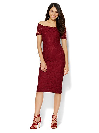 Off-The-Shoulder Lace Dress - Petite  - New York & Company