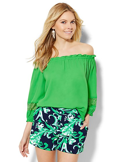 Off-The-Shoulder Lace-Inset Blouse  - New York & Company