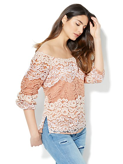 Off-The-Shoulder Lace Top - New York & Company