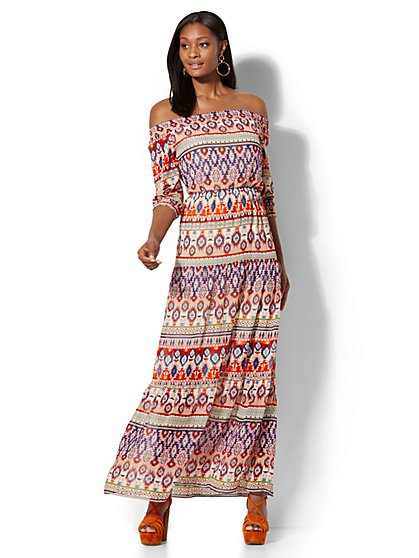 Off-The-Shoulder Maxi Dress - Graphic Print - New York & Company