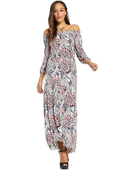 Off-The-Shoulder Maxi Dress - Paisley - New York & Company