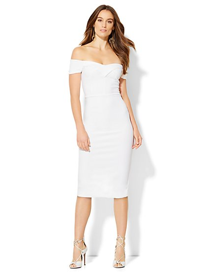 Off-The-Shoulder Midi Sheath Dress  - New York & Company