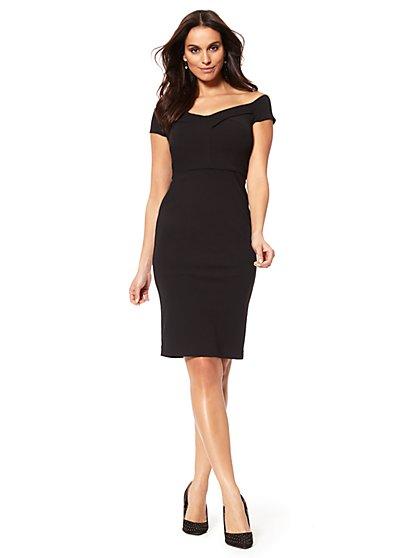 Off-The-Shoulder Midi Sheath Dress - New York & Company
