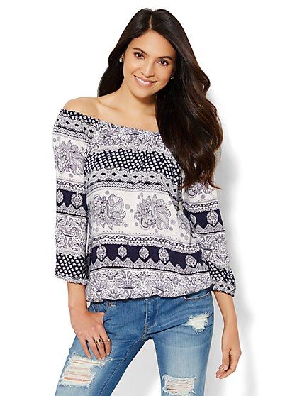 Off-The-Shoulder Peasant Blouse - Paisley  - New York & Company