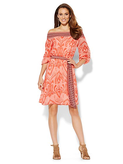 Off-The-Shoulder Peasant Dress - Ikat - New York & Company