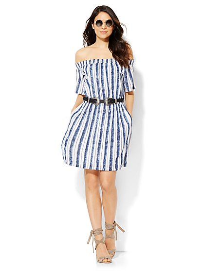 Off-The-Shoulder Peasant Dress - Stripe  - New York & Company