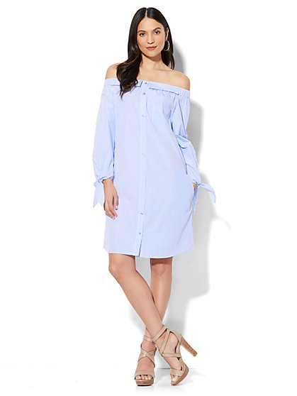 Off-The-Shoulder Poplin Dress - Stripe - New York & Company